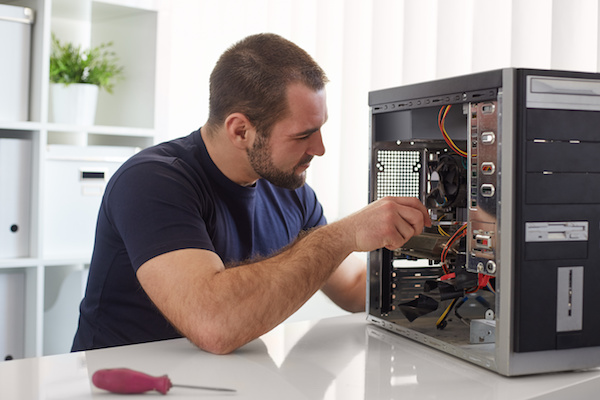 Technician working on a computer